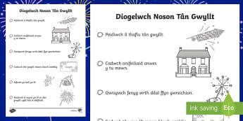 Taflenni Lliwio Diogelwch Noson Tân Gwyllt