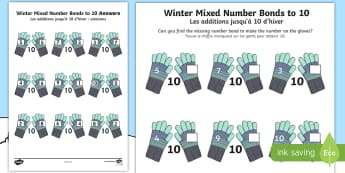 Winter Themed Mixed Number Bonds to 10 Activity Sheet English/French - Winter, snow, Christmas, mittens, addition, number bonds to 10, worksheet, Worksheet, activity sheet
