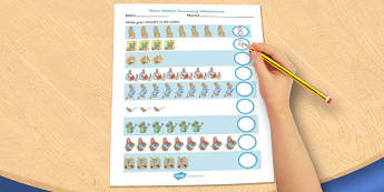 The Tale of Peter Rabbit Counting Sheet - peter, rabbit, counting