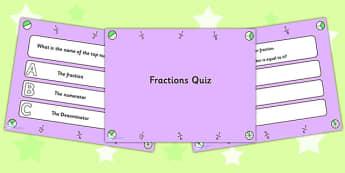 Basic Fractions PowerPoint Quiz - fractions, powerpoint, quiz