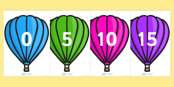 Counting in 5s on Hot Air Balloons (Plain) - Counting, Hot Air Balloon, Numberline, Number line, Counting on, Counting back, even numbers, foundation stage numeracy, counting in 2s