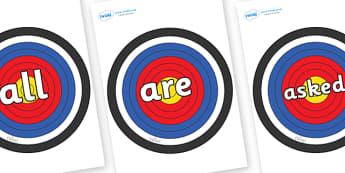 Tricky Words on Plain Targets - Tricky words, DfES Letters and Sounds, Letters and sounds, display, words