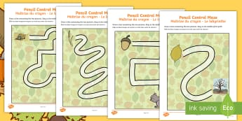 Autumn Themed Pencil Control Maze Activity Sheets English/French  -  pencil control, maze, worksheet, worksheets, autumn worksheet, EAL French