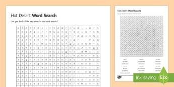 Hot Deserts Word Search - glossary, key terms, living world, ks4, gcse