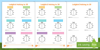 Differentiated Halving to 20 Ladybird Activity Sheets - worksheets, halving to 20, differentiated halving activity, halving activity