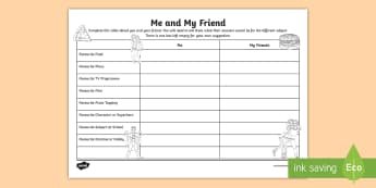 Y4 Me and My Friend Activity Sheet - back to school, first week back, all about me, friendship, KS2, worksheet