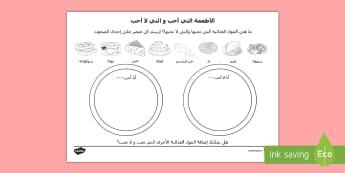 ورقة نشاط الأطعمة التي تعجبني ولا تعجبني - غذاء، يحب ويكره، لغات، - ترجمة، ورقة عمل,Arabic