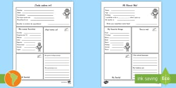 All About Me Activity Sheet -  US English/Spanish (Latin) - All About Me Worksheet - all about me, worksheet, self registration, ourselves, ourselves worksheet,