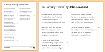 'In Romney Marsh' by John Davidson Literary Text - GCSE English Literature, Time and Place Cluster, Edexcel Poetry, Poetry Exploration, Exam Practice,