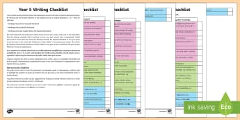Year 5 Writing Checklist - KS2, year 5, writing, assessment, targets, checklist, progress, objectives, working towards, expecte