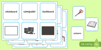 Classroom Objects Vocabulary Matching Cards - ESL Classroom Vocabulary