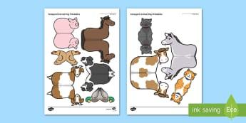 Farmyard Animal Peg Printables - What the Ladybird Heard, Julia Donaldson, minibeasts, ladybirds, peg animals