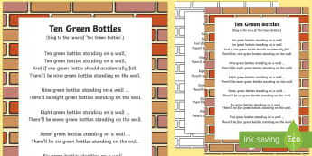 Ten Green Bottles Rhyme - ten green bottles, rhyme, ten, green, bottles, nursery rhyme, number rhyme, lyrics