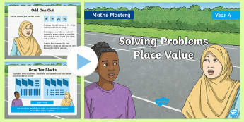 Year 4 Solve Problems Place Value Maths Mastery PowerPoint - Reasoning, Greater Depth, Abstract, Modelling, Representation, Problem Solving, Explanation
