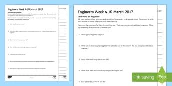 ROI Interview an Engineer Writing Activity Sheet - ROI Engineers Week 2017, engineering, careers, women in engineering