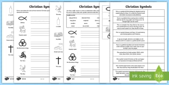 KS2 Christian Symbols Differentiated Activity Sheets - RE, Religion, KS2, Key Stage 2, year 3, year 4, year 5, year 6, yr 3, yr 4, yr 5, yr 6, Christian sy