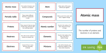 Elements, Atoms and Compounds Pairs Glossary Activity - Glossary, atoms, elements, compounds, mixtures,  periodic table, atomic mass