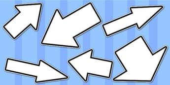 White Directional Arrows Cut Outs -  white directional arrows, cut outs, directional arrows, directional arrow cut outs, directional arrows worksheet