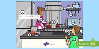 Präpositionen in der Küche Poster - Präpositionen in der Küche, Poster, Aktivität, interaktiv, Computer, PC, Tablet, Druckschrift, Sc