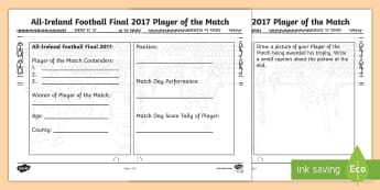 All-Ireland Football Final 2017 Player of the Match Activity Sheet - ROI, GAA, All ireland, final 2017, football, mayo, dublin, Player of the match, worksheet, activity