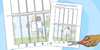 Rugby Themed Photo Number Sequencing Puzzle - rugby, sequencing