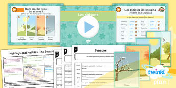 PlanIt - French Year 4 - Holidays and Hobbies Lesson 1: The Seasons Lesson Pack - french, languages, grammar, seasons, months, les mois, les saisons, au printemps, en hiver, en été