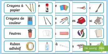 Étiquettes modifiables bleues : Ressources pour le coin créatif - organisation, rangement, tiroirs, casiers, étiquettes, cycle 1, cycle 2, cycle 3, labels,French