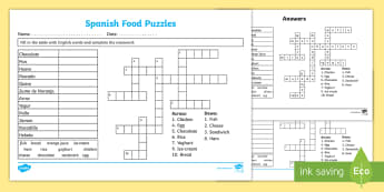 Spanish Food Fill In and Crossword Worksheet - worksheets, foods