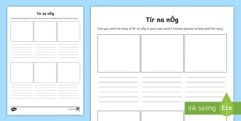 Retelling the Story of Tír na nÓg Writing Frames - ROI Tír na nÓg resources,Irish