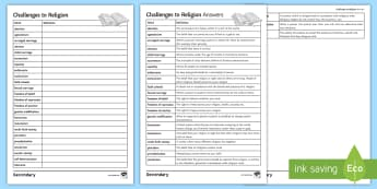 Challenges to Religion: Key Word Activity Sheets - Challenges to Religion; secularism, gcse, re, ethics, philosophy
