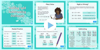 UKS2 Adding and Subtracting Decimals PowerPoint - solve problems involving number up to three decimal places, add, subtract, adding, subtracting, addi