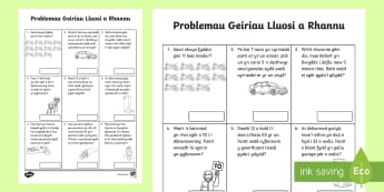 Problemau Geiriau Lluosi and Rhannu x2, x5,x10 Taflen Weithgaredd - Problemau geiriol lluosi, tabl 2, tabl 5, tabl 10. lluosi a rhannu,Welsh, Blwyddyn 2, Rhif, Mathemat