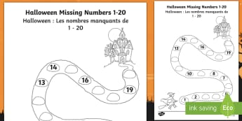Halloween Spooky House Missing Numbers to 20 Activity Sheet English/French - Halloween, october, festival, celebration, spooky, ghosts, witch, worksheet, activity sheet