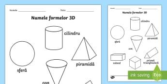 Forme 3D Fișă de colorat Cuvinte ilustrate - geometrie, bidimensionale, tridimensionale, română, materiale, activități,Romanian