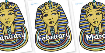 Months of the Year on Mummy Masks - Months of the Year, Months poster, Months display, display, poster, frieze, Months, month, January, February, March, April, May, June, July, August, September