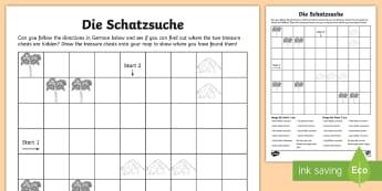 German Directions Treasure Hunt Activity Sheet - Deutsch, basic phrases, Schatzsuche, MFL, worksheet, left, right, up, down