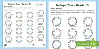 Analogue Time - Quarter To Activity Sheet - NI KS1 Numeracy, quarter to, analogue, clock, time, home learning, Worksheet