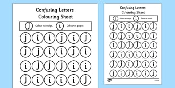 Confusing Letters Colouring Worksheets J and I - words, vocab