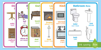 Items from Parts of the House Display Posters English/Romanian - EAL, bathroom, bedroom, kitchen, living room, house, parts, items