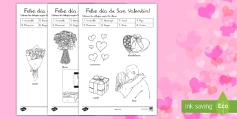 Colorear con números: Día de San Valentín - Valentín, San Valentín, febrero, enamorados, colorear con números, corazones, amor, colores,Spani