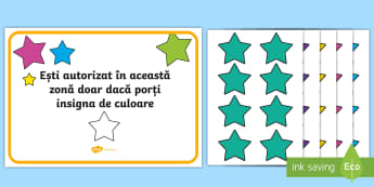 Insigne pentru zona de informatică - Area Display Sign Star Badges - area, special area, colour, star, sign, badge, star badges, specific