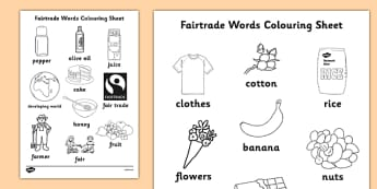 Fairtrade Words Colouring Sheets - fairtrade, colour, colouring