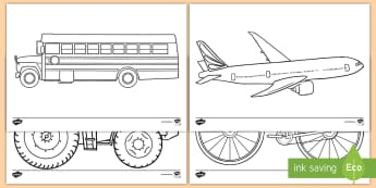 Transportation Themed Coloring Activity Sheets - worksheets, transportation, color, coloring, activity sheets, semis, construction, machinery, trucks