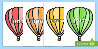 Days of the Week on Hot Air Balloons (Plain) French - french, days, week, hot air balloons