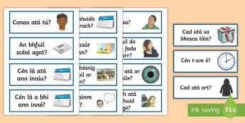 Conversation Cards Gaeilge - Cartaí Comhrá, conversation cards, comhrá, gaeilge, obair beirte, pair work, chat, questions, cei