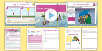 Weather and Climate Lesson 5: Under Pressure! Lesson Pack  - Air pressure, high pressure, low pressure, barometer, weather, storm, Temperature, Isolines.