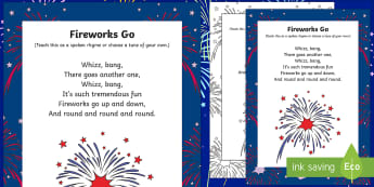 Fireworks Go Rhyme - fireworks, go, rhyme, early years, eyfs, bonfire night