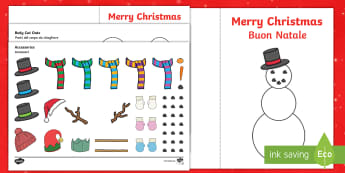 Design Your Own Snowman Christmas Cards English/Italian - tree, snowman, cards, card, craft, festive, nativity, scissors, papercraft