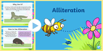 Years 3-6 Alliteration PowerPoint - figurative language, alliteration, words and vocabulary