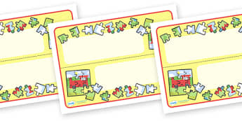 Editable Puzzle Area Table Sign - challenge, learning objective, puzzle area, games area, jigsaw area, name label